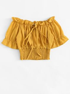 Shop Tie Front Frill Bardot Shirred Crop Top at ROMWE, discover more fashion styles online. Teen Fashion Outfits, Outfits For Teens, Trendy Outfits, Girl Fashion, Girl Outfits, Summer Outfits, Fashion Dresses, Cute Outfits, Trendy Tops