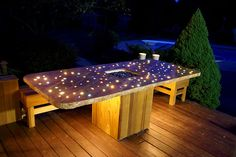 Cement Counter tops with Fiber optics, Glass embedded and fire pit. Outdoor