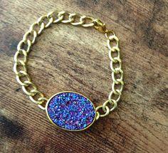 Purple Druzy Stone Bracelet with Gold Chain by Urban Hippie, $14.99 #druzy #jewelry #geode