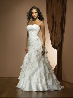 Strapless Pleated Bodice Ball Gown Wedding Dress