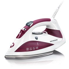 Professional design, plate stainless steel, self-cleaning system, slim tip to reach even the most difficult, comfortable non-slip handle. Power (W): 2200 Colour: White-purple Water Capacity (ml): 280 Steam Generator, Creative Labs, Steam Iron, Steam Cleaning, Ceramic Plates, Home Appliances, Cords, Mothers, Design