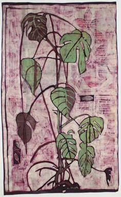 """Monstera deliciosa"", 1967 - batik by Louis Steyn, SA Master batik artist"