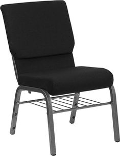 Flash Furniture HERCULES Series 18.5W Black Fabric Church Chair with Book Rack-Silver Vein Frame
