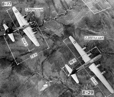 Flying Fortress: Size comparison of a B-17 Flying Fortress and a B-29 Superfortress