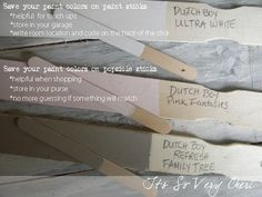 paint sticks and popsicle sticks, garages, painting, Paint Sticks and matching popsicle sticks painted with room colors