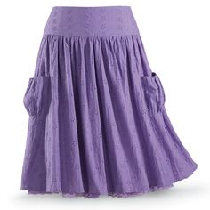 Wild Irises Eyelet Skirt - Women's Clothing & Symbolic Jewelry – Sexy, Fantasy, Romantic Fashions Casual Skirts, Casual Outfits, Long Skirts, Tie Dye Skirt, Dress Skirt, Holiday Skirts, Eyelet Skirt, Plus Size Fashionista, Purple Skirt