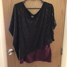Sparkle Tshirt Very lightweight. Tshirt material. Super comfortable. Dress up & feel like you're wearing a Tshirt.  Worn once. Tops Blouses