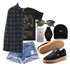 Untitled #459 by kristinacason on Polyvore featuring polyvore fashion style Uniqlo Puma New Black Ray-Ban clothing