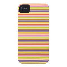 Pink, Purple, Orange, Green Stripe Pattern Case-Mate iPhone 4 Case