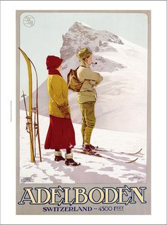 Adelboden cross country skiing vintage poster