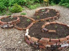 Spiral-y raised beds... for herb garden.