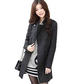 Gaorui Women Winter Wool Blend Double Breasted Parka Trench Coat Windbreaker Jacket Top ** Click on the image for additional details.