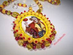 CLOWN HAPPY BEADED necklace by MsLOLLYBEADS on Etsy, $30.00