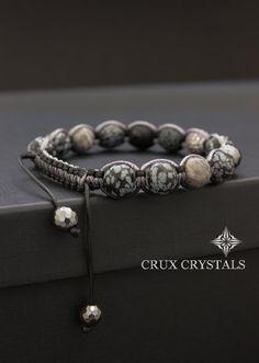 Schneeflocke Obsidian Herren Armband Edelstein von CruxCrystals