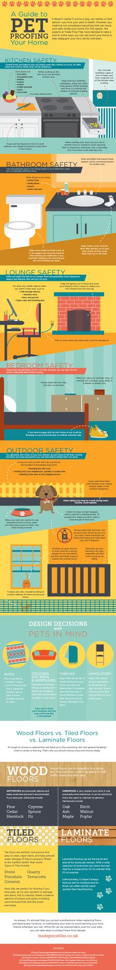Pet Proofing Your Home: Infographic.   #petproofhome #care #pets #cats #kittens #dogs #puppies #safety #home