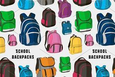 Colored school backpacks set pattern by Netkoff on @creativemarket