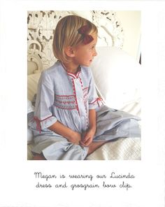 Megan wearing our Lucinda French smock dress and grosgrain bow clip