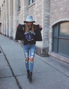 distressed jeans + graphic t-shirt + leather jacket