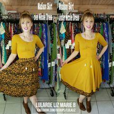 LuLaRoe Nicole Dress with a LuLaRoe Madison Skirt worn over and under! LuLaRoe Liz Marie B   Facebook.com/groups/lulaliz