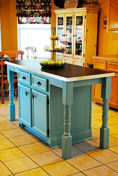 Imitation is flattery...a kitchen island transformation feature - At The Picket Fence