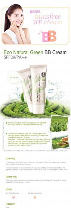 Innisfree Eco Natural Green Tea BB Cream SPF 25 PA++, BB cream yang melembapkan ini mengandung bahan biji teh hijau yang dipanen dari kebun teh hijau di pulau Jeju, memberikan kelembaban kaya untuk kulit Anda dan secara lembut menutupi kekurangan di wajah.