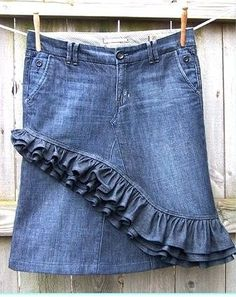This out of a pair of jeans and instead of denim under the ruffles, a different - perhaps floral- fabric