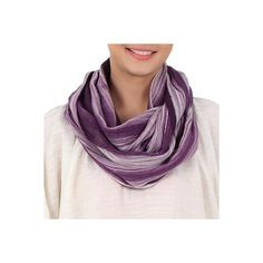 NOVICA Hand Woven 100% Cotton Infinity Scarf in Purple and White ($23) ❤ liked on Polyvore featuring accessories, scarves, clothing & accessories, infinity, white, white infinity scarf, tube scarves, white shawl, infinity scarves and infinity circle scarf