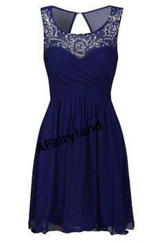 Bridesmaid dress, party dress, knee-length, dark blue, rhinestones beading neck.