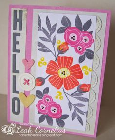 Wplus9, Spring Blossoms,Memento Luxe inks, Lawn Fawn dies,Paper Blossoms: Hello-Fusion Challenge