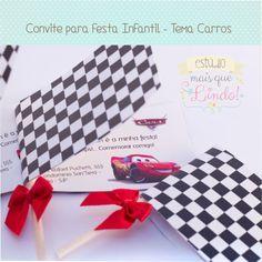 Convite Infantil no Tema Carros - Este modelo é criativo e diferenciado para você surpreender os seus convidados antes mesmo da festa.  Ta...