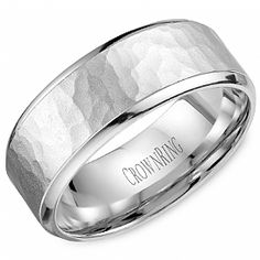 Men's Wedding rings: WB-9968 Hammered Wedding Band by Crown Ring