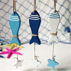 Mediterranean Starfish Fish Nautical Decor hang small adorn Crafts Wood Fish/decorated marine pendant Home Decoration