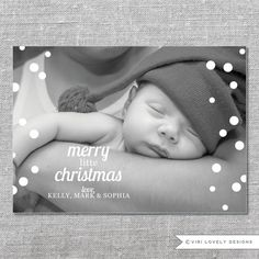 Printable Photo Holiday Card | Merry Little Christmas | Baby's First Christmas | 5x7