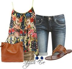 A fashion look from April 2013 featuring embroidered shirts, blue shorts and leather sandals. Browse and shop related looks. Cute Summer Outfits, Short Outfits, Spring Outfits, Casual Outfits, Cute Outfits, Outfit Summer, Summer Shorts, Look Fashion, Fashion Outfits