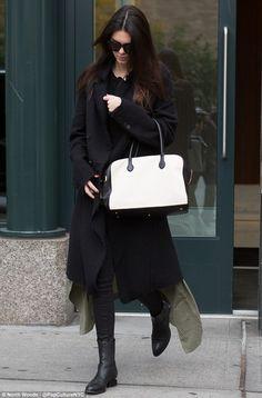 Kendall Jenner wearing Hudson Stark Moto Pant in Jet Black Coated, Alexander Wang Anouck Cutout-Heel Jodhpur Boot, Balmain Off-White and Black Leather and Fabric Pierre Bag and Zara Studio Loose-Fit Long Blazer
