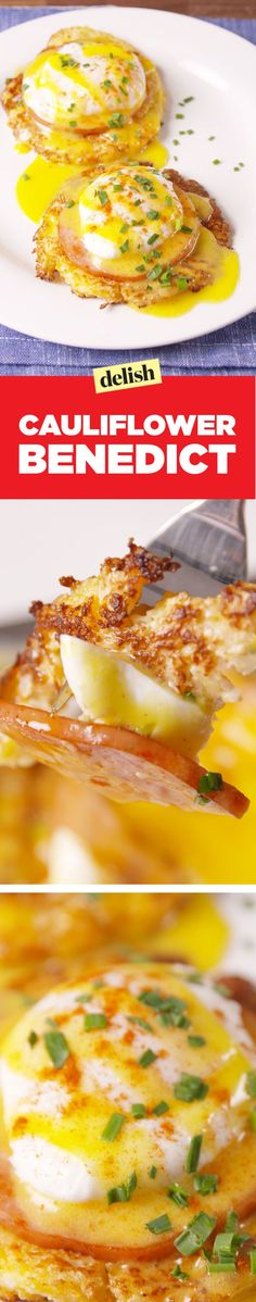 Cauliflower Benedict Is the Low-Carb Breakfast of Champions - Keto - Veggie Recipes Low Carb Recipes, Diet Recipes, Cooking Recipes, Healthy Recipes, Tasty Meals, Paleo Food, Yum Food, Paleo Diet, Healthy Meals