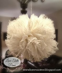 DIY Lace Tulle Poms