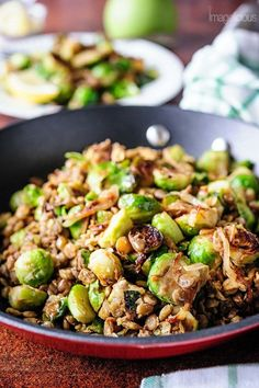 Lentils and Brussels Sprouts skillet is a delicious way of incorporating filling lentils and healthy vegetables into your weeknight meals or meatless mondays. Very quick to prepare the Lentils and Brussels Sprouts are great on their own or as a side to your favourite protein | Imagelicious