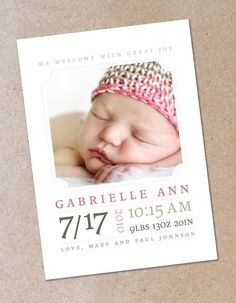 Minimalist Modern Photo Birth Announcement by oodlesofcolor