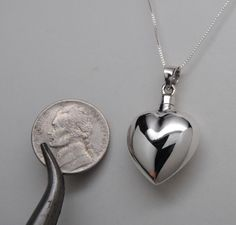 Heart Cremation Urn Necklace Sterling Silver Cremation Jewelry Ashes Bottle 925