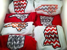 Long Sleeved Monogrammed State Pocket T-Shirt Tee Any State on Etsy, $22.00