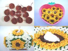 Tissue box cover bermotifkan bunga matahari. Kotak kecil, 100 pulls.                 Happy Crocheting,