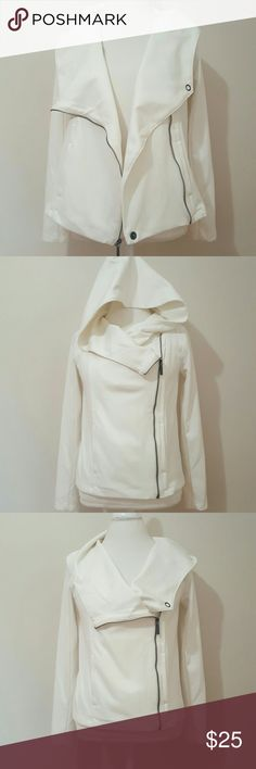 DKNY JEANS HOODED JACKET DKNY JEANS HOODED JACKET  GENTLY WORN  SIZE SMALL, BUT CAN ALSO BE WORN AS A MEDIUM  WINTER WHITE  CAN BE WORN AS PART OF YOUR OUFIT/SEVERAL WAYS ZIPS AND SNAPS PLEASE FEEL FREE TO ASK QUESTIONS??????? Jackets & Coats