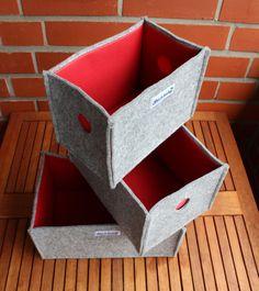 Filzkörbchen mit rotem Innenfutter 3er Set