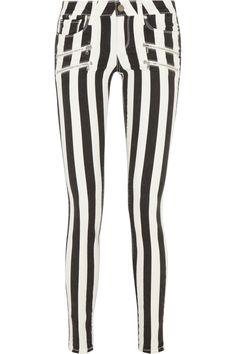 Black and white striped Edgemont stretch-denim skinny jeans#style #striped #fashion