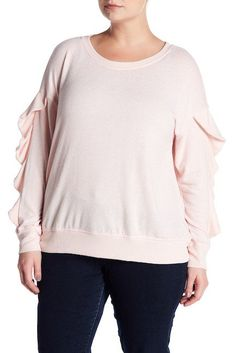 NORDSTROM RACK:  Was $62, NOW $13.95!  Harlowe & Graham Ruffle Sleeve Soft Fleece Sweater  3 Colors, 0X-3X  SAVE $48: http://shopstyle.it/l/sxAg  #ad