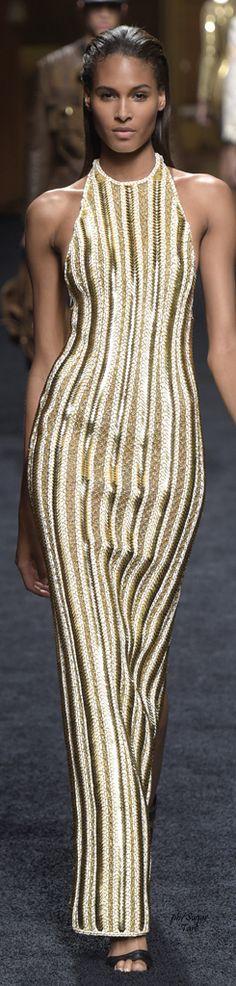 Balmain Resort 2016 - gorgeous racer front shimmering gold & white stripe full length gown #balmainnation...x