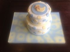 Baby Baptism - Banana Cake with Pineapple Buttercream Filling, White Chocolate Coconut Ganache, finished in Fondant.