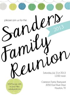Sugarhouse Ink: Family Reunion Invitations