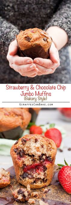 Strawberry Chocolate Chip Jumbo Muffins - Really moist bakery style muffins full of chocolate chips and a gooey strawberry sauce centre. These Strawberry Chocolate Chip Jumbo Muffins are super-sized, absolutely delicious and taste just like they came from Muffin Recipes, Breakfast Recipes, Dessert Recipes, Cupcake Recipes, Dessert Ideas, Strawberry Sauce, Strawberry Recipes, Strawberry Shortcake, Cupcakes